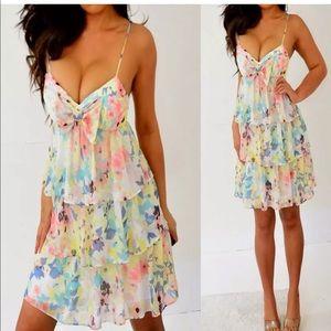 Candie's Blue Yellow Pink Floral Chiffon Dress XS